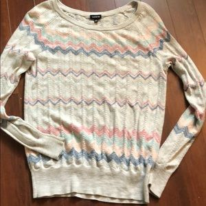 Torrid pastel zig zag light knit sweater